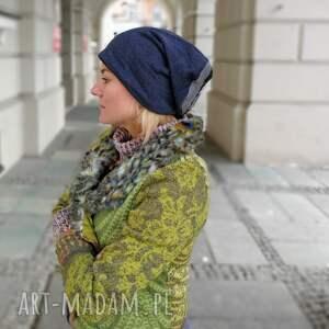 handmade czapki czapka damska dzianina patchwork ciepła