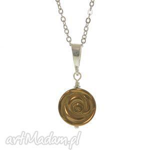 naszyjnik z hematytem , złota różyczka, - naszyjnik, hematyt, nowość