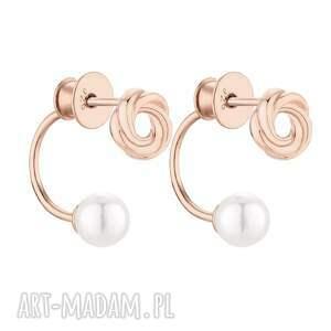 kolczyki z węzełkami z różowego złota z perłami swarovski®