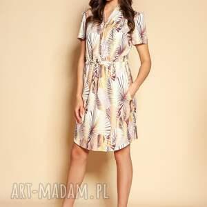 lanti urban fashion sukienka z krótkim rękawem - suk196 beż