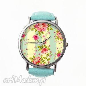 Retro róże - Skórzany zegarek z dużą tarczą, zegarek, skórzany, retro, róże, vintge