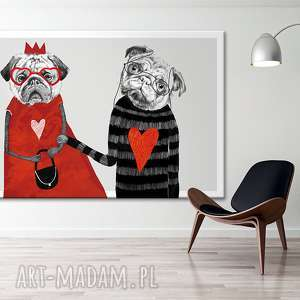 Obraz na płótnie - 120x80cm MOPSY LOVE 02132 wysyłka w 24h, mopsy, pies, love, serca