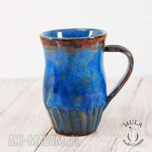 kubek duży niebieski, ceramiczny, duży, ceramika, kubek