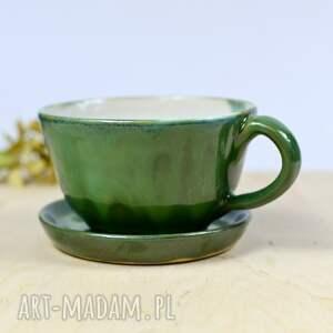 hand made ceramika filiżanka klasyczna do kawy | herbaty zielona ii 350