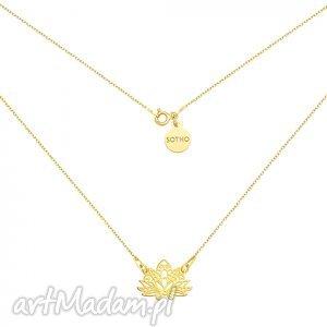 ręcznie wykonane naszyjniki złoty naszyjnik z ażurowym lotosem