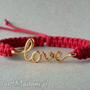 love, bransoletka, sznurek, makrama, sznurkowa, pleciona, węzły, święta