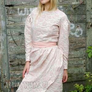 retro sukienka z żakardu, bufiasty, żakard, delikatna, retro, vintage, bufki