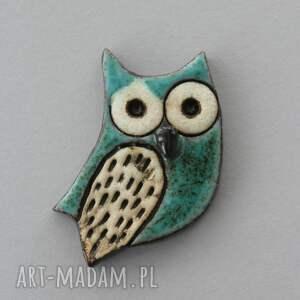 mądralińska - broszka ceramiczna, prezent, minimalizm design sowa nauczyciel
