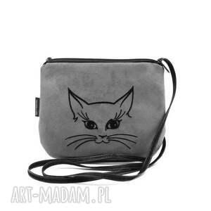 mała szara torebka torebeczka mini z wyszytym kotkiem, torebka, wyszywana