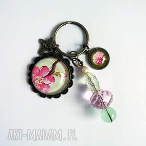 breloczek - kwiat wiśni, różowy, breloczek, do kluczy, wiśnia