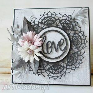 scrapbooking kartki grafitowa z odrobiną pastelowego różu, życzenia