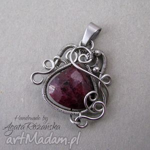 wisior rubin naturalny, stal chirurgiczna, wire wrapping