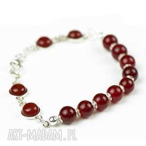 Codzienna srebrna bransoletka z agatów i karneolu a679, biżuteria-karneol