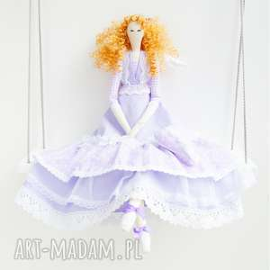 anioł tilda prezent pod choinkę, retro, lalka