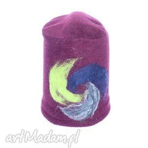 czapka dziecięca z polaru filcowana, czapka, dziecko, polar, miękka, filc, haft