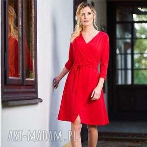 sukienka kopertowa pasja czerwona, sukienka, dzianina, bawełna