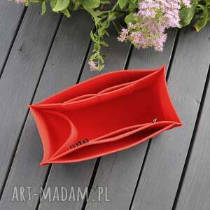 organizer do torebki xxl - czerwony filc z przegrodami, filcowy
