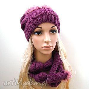 handmade szaliki komplet fioletowy - czapka i szalik oryginalnie wiązany