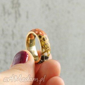 bransoletki jesienna obrączka, obrączki, retro, pomarańczowy, brązowy, pierścionki