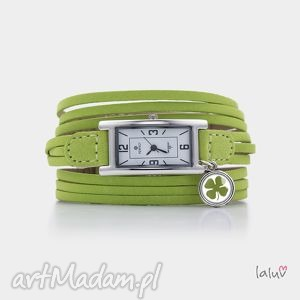 ręcznie robione bransoletki zegarek na skórzanej bransolecie koniczyna