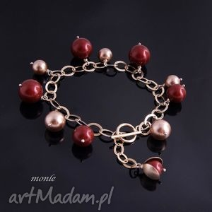 bordo bransoletka z pereł swarovski - biżuteria, pozłacane