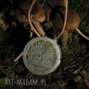 srebrny naszyjnik leśna polana z kwarcem słonecznym, sarenki, natura, las, srebro