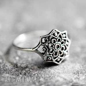 pierścionki 925 srebny pierścionek ornament, onament, orient, gwiazda, 925, srebro