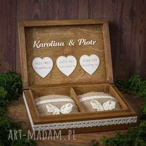 biala konwalia pudełko na obrączki 3 serca, pudełko, obrączki, drewno, eko