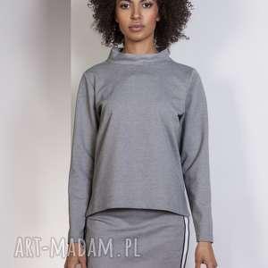 Bluza z dłuższym tyłem, BLU139 szary, bluza, bluzka, trapezowa, stójka, casual, luźna