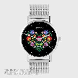 zegarki zegarek, bransoletka - serce folkowe, czarne metalowy, zegarek
