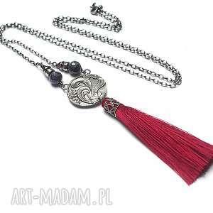 fantasy szkarłat - naszyjnik - srebro, chwost, boho, szafiry, granaty, długi