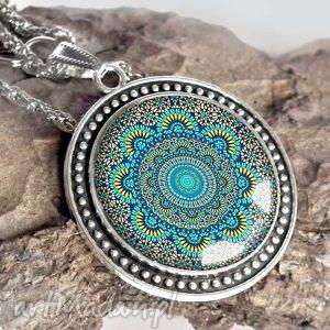 turkusowa mandala - piękny naszyjnik - duży, niebieski, wisior, etno, etniczny