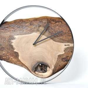 zegar loft - orzechowy 40cm, drewniany, okrągły, loftowy, ścienny, orzechowy