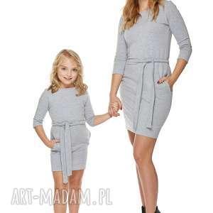 mama i córka sukienka dla córki ld6/2, sukienka, dresowa, zpaskiem, kieszenie