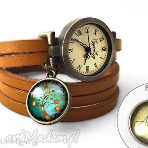 zegarek z dwustronną zawieszką jesienne drzewo, 0610swlb6, inicjały