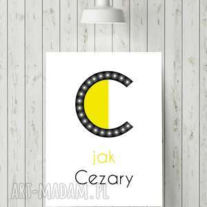 świecąca litera c z imieniem prezent lampka obraz dla dziecka, obraz
