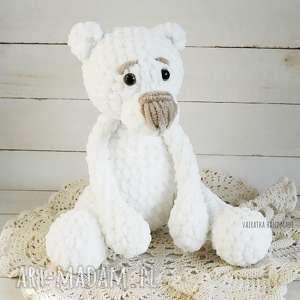 miś amigurumi 30cm 336 - białe maskotki, niedźwiadek, maskotka