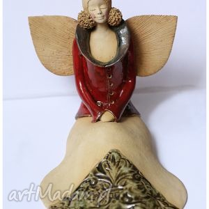 hand made ceramika elegancka anielica w kubraczku