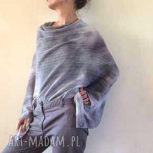 poncho eleganckie wełniane jasno szare ponczo, narzutka, sweter, wełna