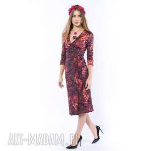 Pani Jesień - kopertowa sukienka, dzianinowa, kolorowa