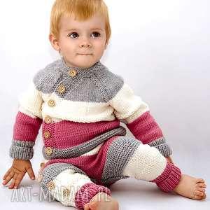 ręczne wykonanie ubranka spodnie tricolor merynos dziecięcy