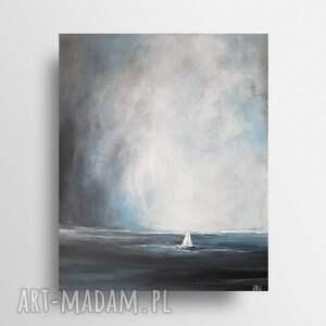 samotna łódź-obraz akrylowy formatu 38/46 cm, pejzaż, akryl, morze, łódź, obraz