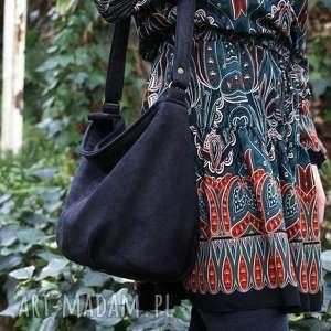 handmade na ramię mini sak nubuk czerń faktura