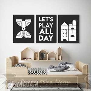 ZESTAW PLAKATÓW dla dzieci Let s play all day A4, obrazki, plakaty, dziecko, pokoik