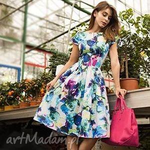 sukienka sara midi amanda , midi, sukienka, kwiaty, rozkloszowana, wielobarwna, klosz