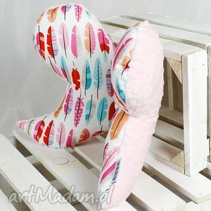 Motylek- Poduszka antywstrząsowa Pióra Róż, motylek, poduszka,