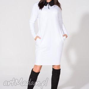 sukienka 2w1 z kołnierzykiem w komplecie, t142, biała, sukienka, dzianina, bawełna