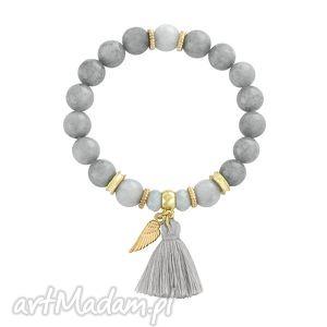 lavoga tassel - grey, chwost, jadeit, skrzydło biżuteria, oryginalny prezent