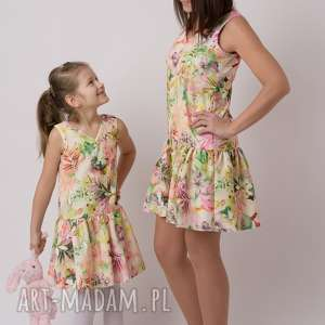 komplet sukienek beata, kwiaty, sukienki, komplet, mamaicórka, wiosenny