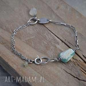 Szkło antyczne i kamień księżycowy, srebro, szkło, antyczne, kamień, księżycowy